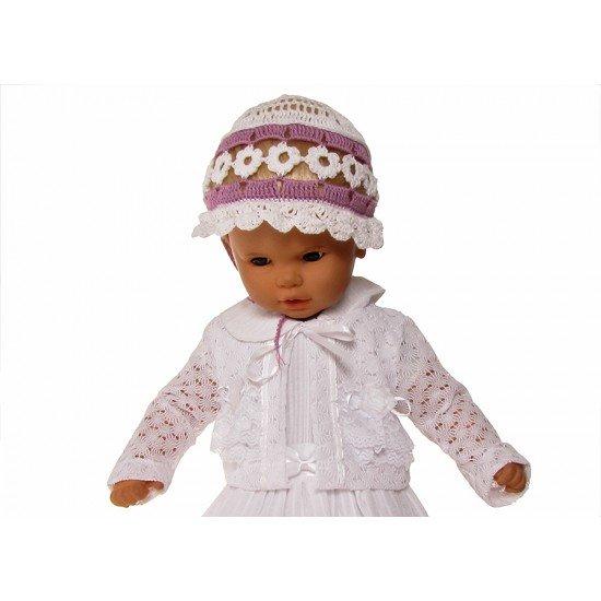 Плетена лятна шапчица в лилаво