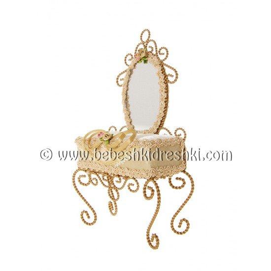 """Поставка за пръстени """"Огледало"""" в екрю"""