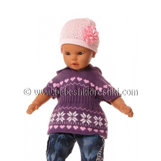 """Пуловер """"Сърчица"""" в тъмно лилаво"""