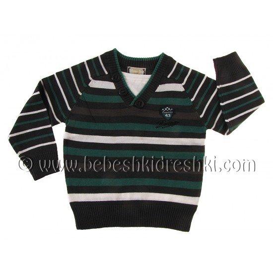"""Пуловер """"Силвърсън"""": зелено райе"""