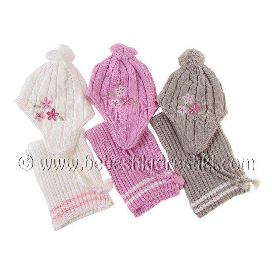 "Комплект шапка с шал ""Кристел"": бяло, розово, сиво"
