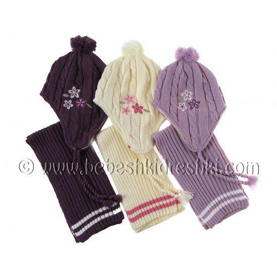 "Комплект шапка с шал ""Кристел"": тъмно лилаво, екрю, лилаво"