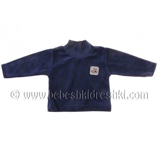 Плюшена блузка тип поло в тъмно синьо