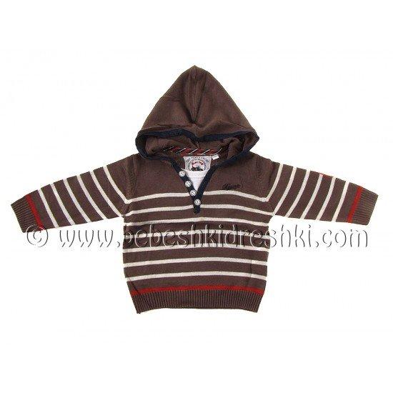 Пуловер с качулка в кафяво