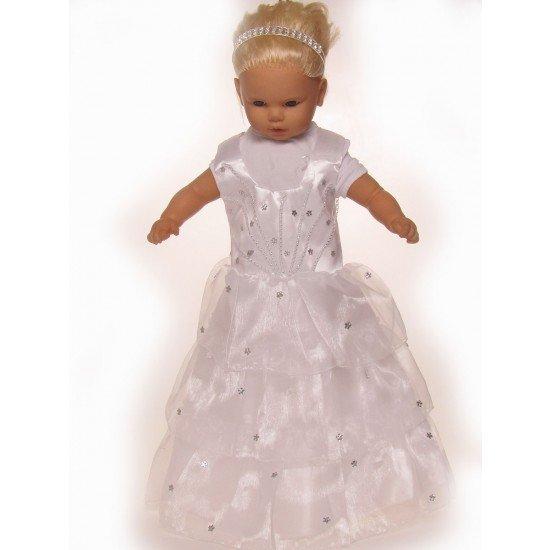 Бяла рокля на малки цветенца