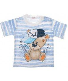 """Тениска """"Мечо"""" в бяло и синьо райе  (размери от 62 см до 80 см)"""