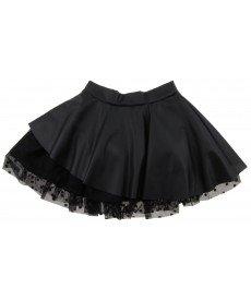 """Кожена пола """"Лили"""" в черно (размери от 140 см до 152 см)"""