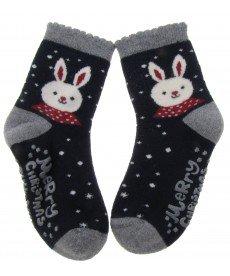 """Термо чорапи """"Коледен заек"""" в тъмно синьо Р9241300С"""