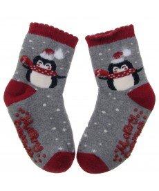 """Термо чорапи """"Коледен пингвин"""" в сиво и червено Н9241300С"""