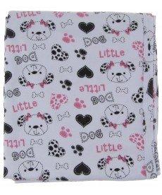 """Пелена """"Кучета"""" в бяло и розово (Размер 80/90 см)"""