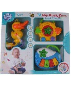 HAPPY TOYS -Бебешки музикален комплект BABY ROCK STAR пиано, тамбурина, пате