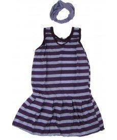 """Лятна рокля """"Лара"""" в лилаво рае с лента за глава (размери от 92 см до 122 см)"""