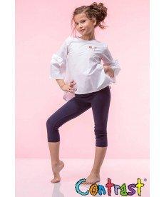 """Асиметрична риза """"Моника"""" в бяло (размери от 122 см до 152 см)"""