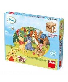 Дървени кубчета Мечо Пух - 12 кубчета