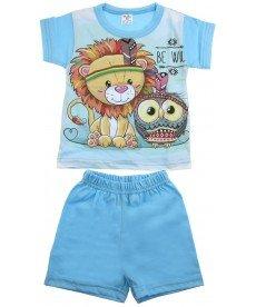 Лятна пижама 'Лъвче' в синьо ( размери от 86см.до 92см.)