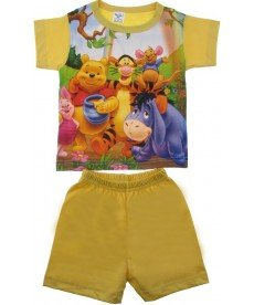 """Лятна пижама  """"Мечо Пух и приятели"""" в жълто  ( размери от 86см. до 92см.)"""