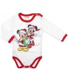 """Боди """"Коледата на Мини и Мики"""" в бяло (Размер от 62 до 86 см)"""