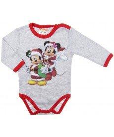 """Боди """"Коледата на Мини и Мики"""" в сиво (Размер от 62 до 86 см)"""