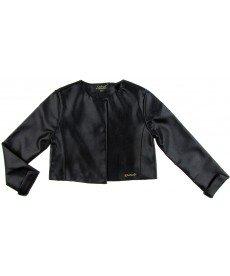 """Късо кожено яке """"Ева"""" в черно (размери от 122 см до 152 см)"""
