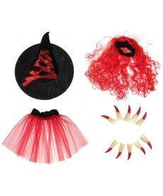 Хелоуински комплект в червено от 4 части (размери от 122 см до 152 см)