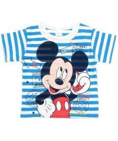 """Тениска """"Мики"""" в синьо райе  (размери от 68 см до 80 см)"""