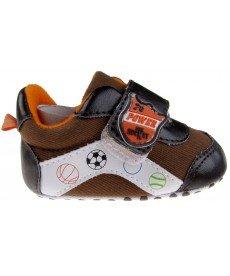 """Бебешки маратонки """"Футбол"""" в кафяво (размери от №1 до №3)"""