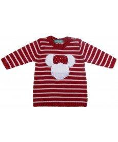 """Пуловер """"Мини"""" в червено (размери от 68 см до 98 см)"""
