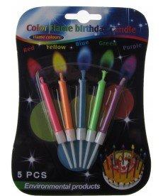 Комплект свещи в различни цветове с цветен пламък