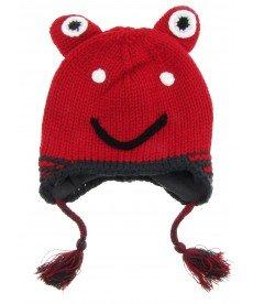 """Зимна шапка """"Жабчо"""" в червено (размери от 0-18 м)"""