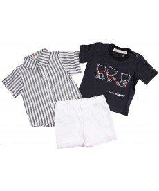 """Летен костюм в три части """"Марк"""" в бяло и сиво (размери от 3 м до 6 г)"""