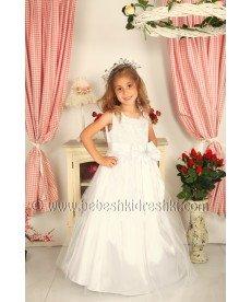 """Дълга рокля с обръч """"Силвия"""" в екрю (размери от 104 см до 140 см)"""