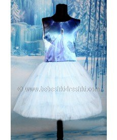 """Рокля """"Елза"""" със син тюл (размери от 104 см до 152 см)"""